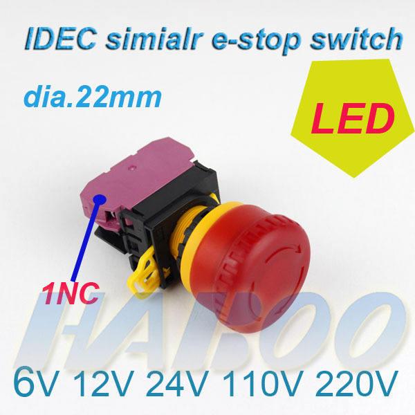 22mm vermelho cabeça de cogumelo botão interruptor/de parada de emergência interruptor com lâmpada idec simliar 6v 12v 24v 110v