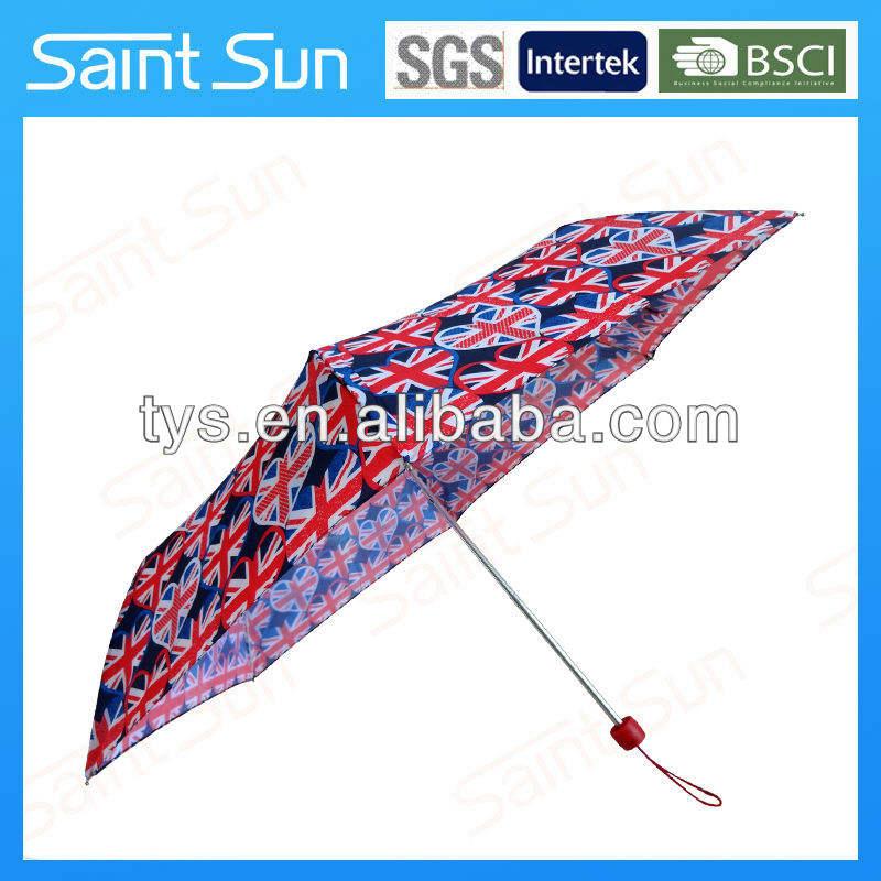 Manual abierto de reino unido bandera de super light paraguas plegable