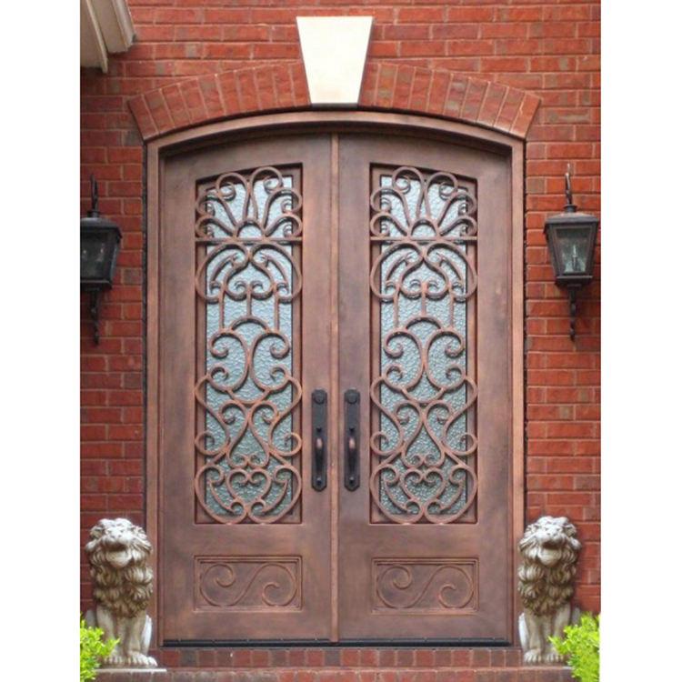 Solido in ferro battuto porte di sicurezza principale sopracciglio doppia porta di vetro disegni