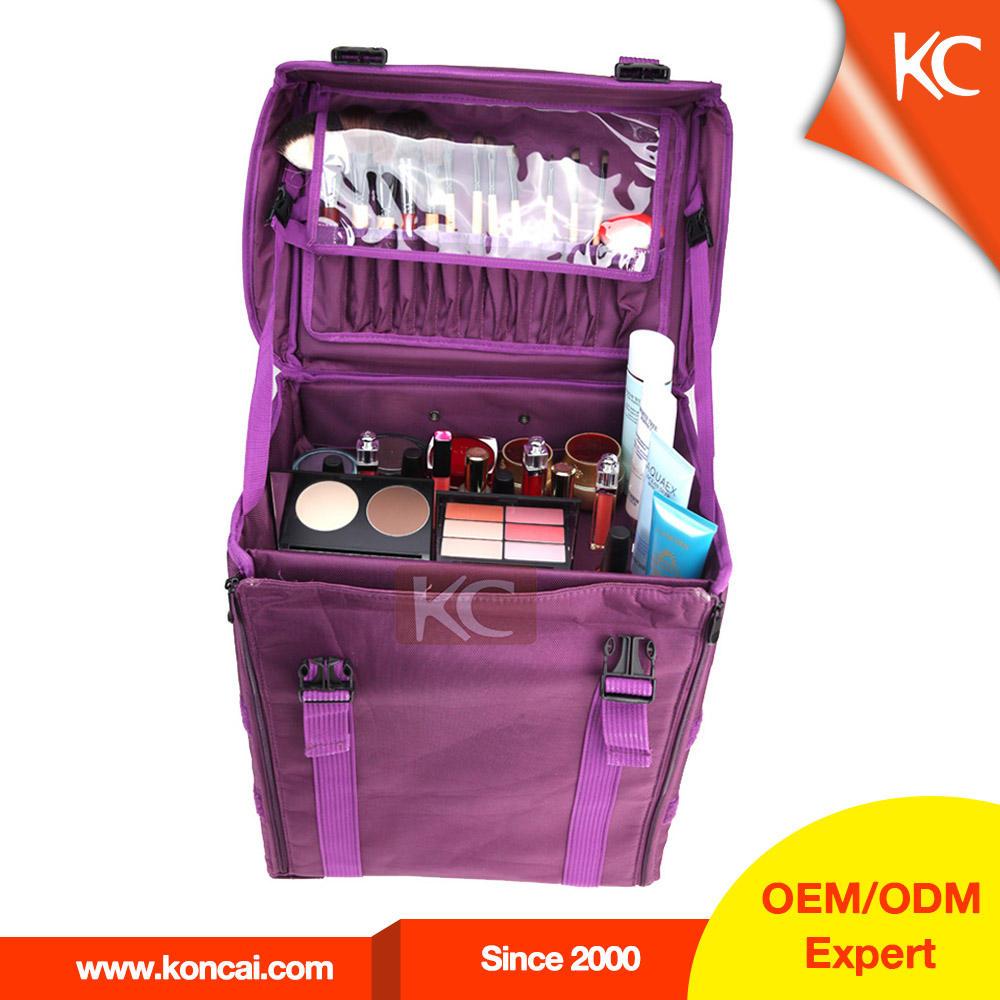 Muchos compartimentos nylon maleta para peluquería peluquería belleza bolso de la carretilla