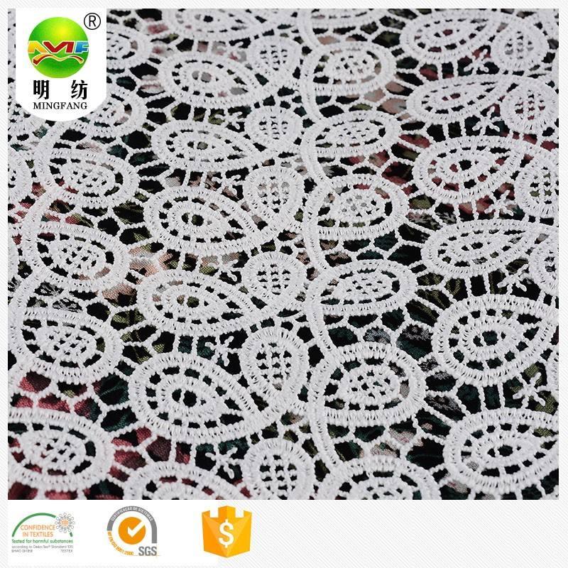 Elástico 100% hilo de poliéster seda de la leche de tela del bordado cordón químico