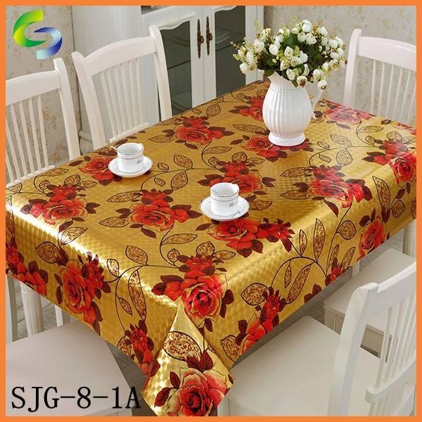 2015 оптовая золотые пвх покрытие стола, скатерть из промышленности