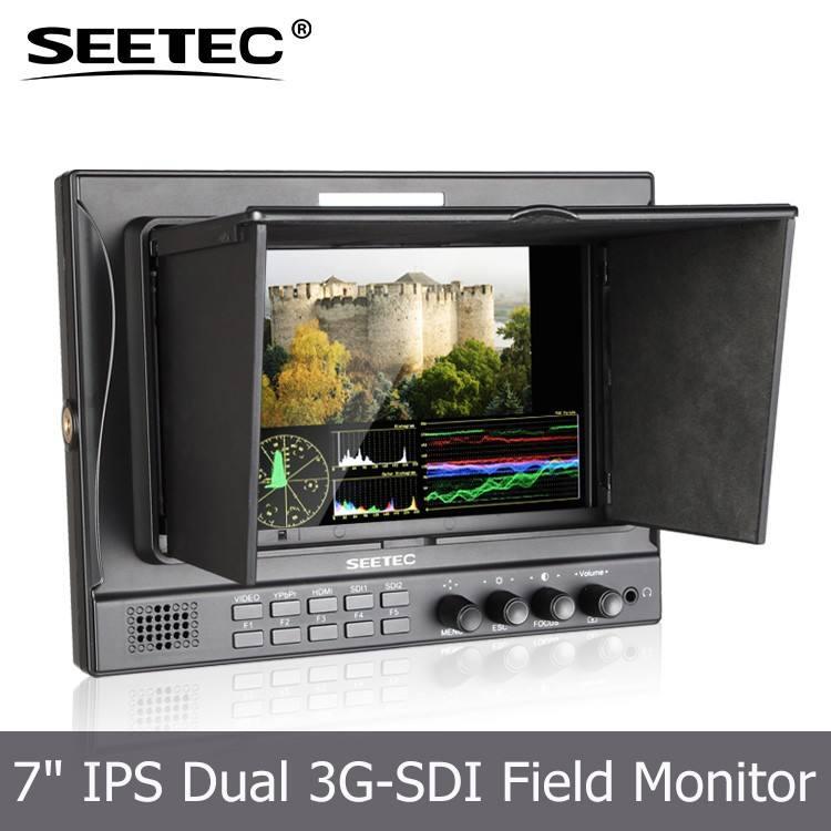 7 '' funciones SDI de la cámara de seguimiento de forma de onda Vetor alcance RGB histograma LCD monitor de la cámara crane <span class=keywords><strong>jib</strong></span>
