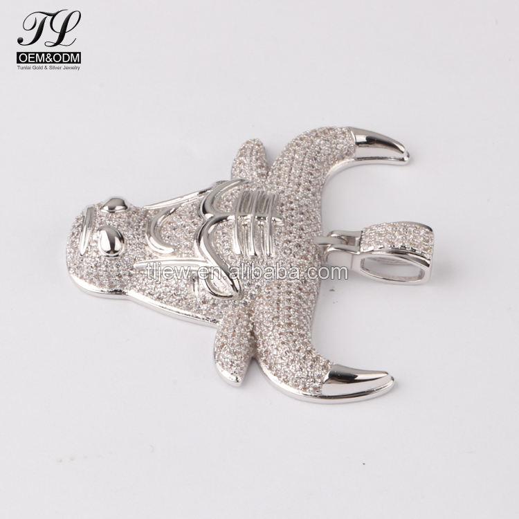 Cabeça de boi cz cluster pingente animal, réplica real hip hop jóias por atacado