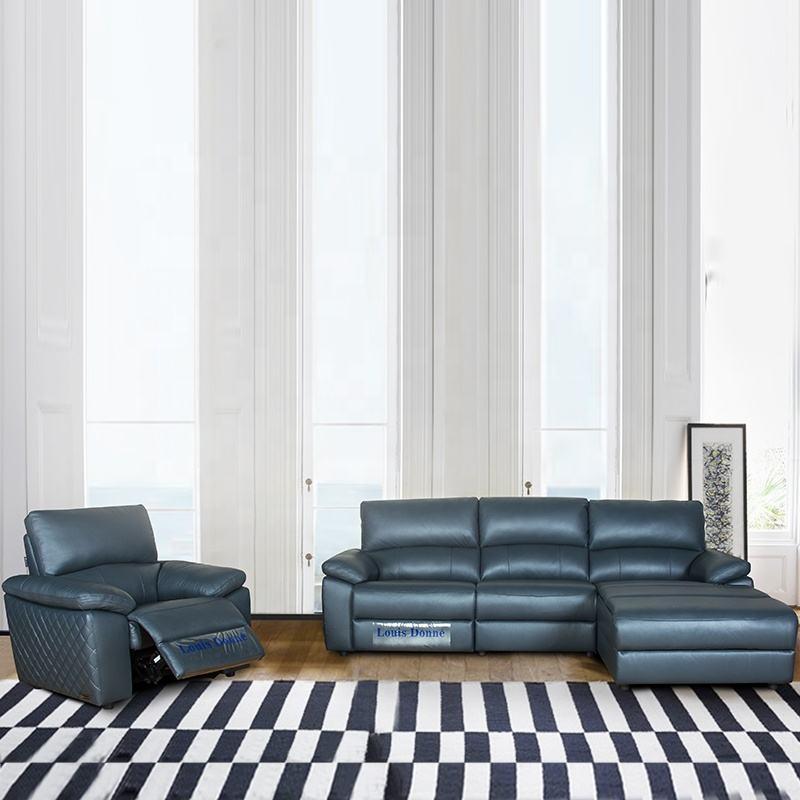 Italia azul de cuero sofá de <span class=keywords><strong>esquina</strong></span> con chaise lounge y de carga USB