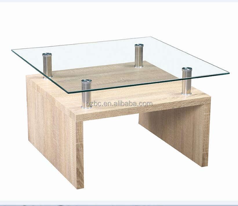 Baichuan de vidrio antiguo muebles de mesa de café de vidrio de Diseño de Moda de piernas de madera mesa de café de mesa de té