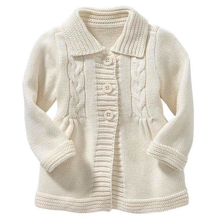 Длинные Стиль Вязание кардиган пальто с отложным воротником для маленьких девочек свитер кабеля