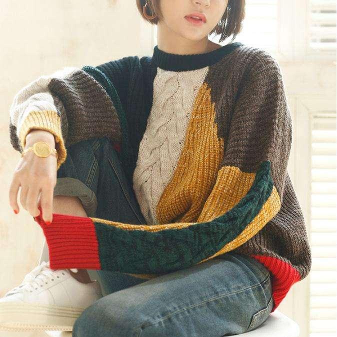 Зима ретро шить свободные повседневные свитер