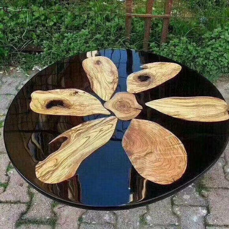 Mini rodada de resina de madeira de nogueira mesa do rio de <span class=keywords><strong>cristal</strong></span> candeeiro de mesa de resina epóxi clara