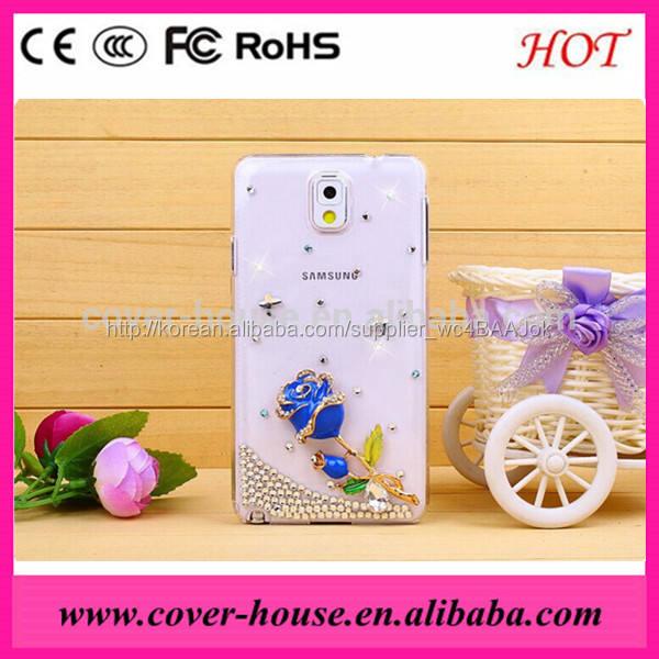 3D 장미 다이아몬드 하드 pc 케이스 삼성 Galaxy note3