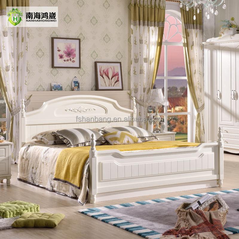 Высокое качество окрашены в белый цвет современный стиль пастырской подросток королева деревянная кровать хранения