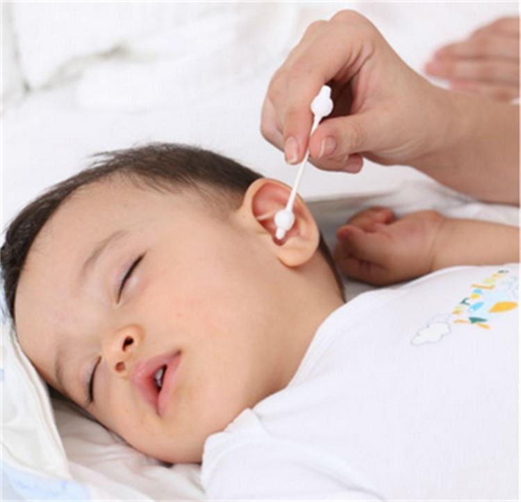 Baby care big head cotton ear buds with biodegradable paper stick