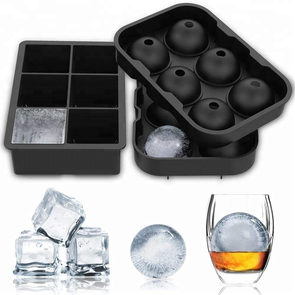 Benhaida Round BPA Free ice making spheres mold ice cube maker tray silicone ice ball mold for Whiskey