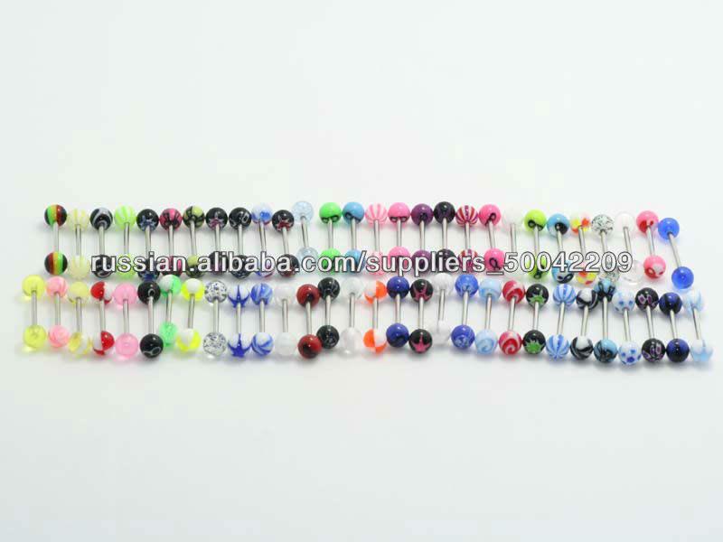 Оптовые много различных смешанных стилей 14G УФ язык кольцо штангой Пирсинг более 75 стилей со