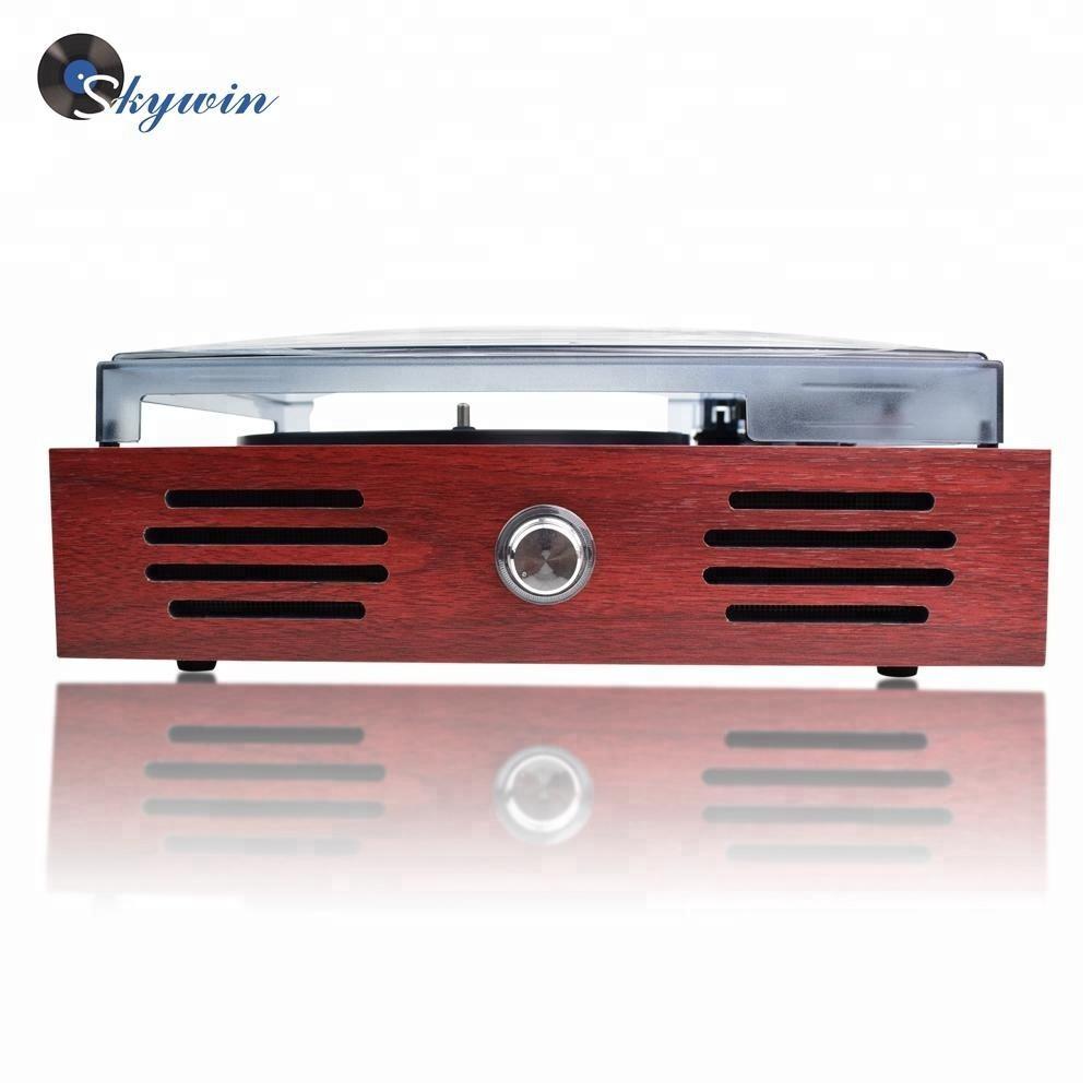 Rétro en bois 6 en1 lecteur plateau / phonographe avec Cassette / USB / SD enregistrement fonctions
