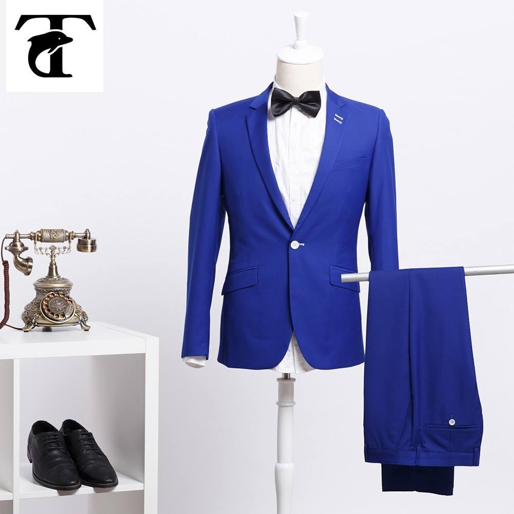 Custom made vestidos de casamento do noivo 2015 para o jantar sob medida noivo smoking azul de lã de duas peças ternos