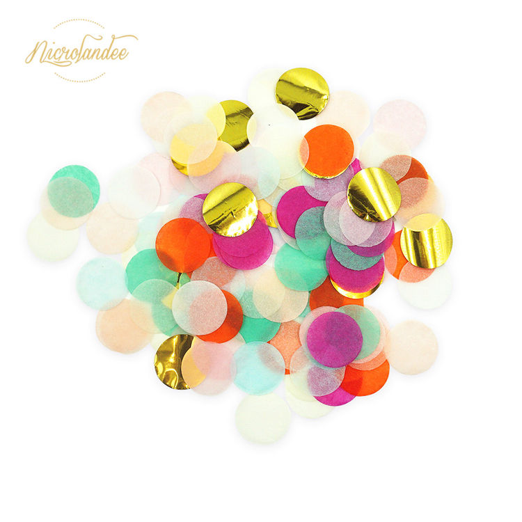 Nicro Wholesale Custom Party Decoration Bluk Bag Circle Metallic Foil Tissue Biodegradable Paper Wedding Confetti