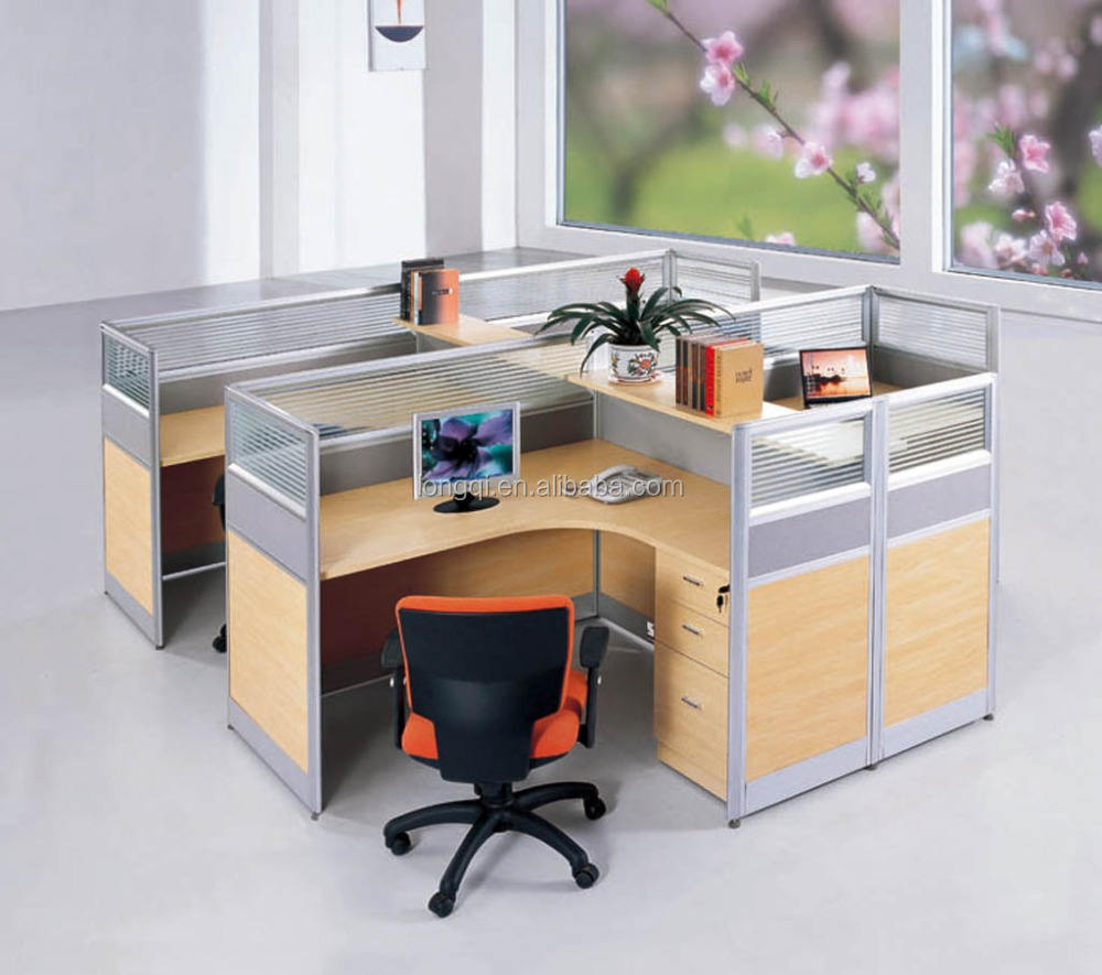 Moderne mode-design büro aluminium melamin modular workstation glaswand mit sockel schrank bürozelle