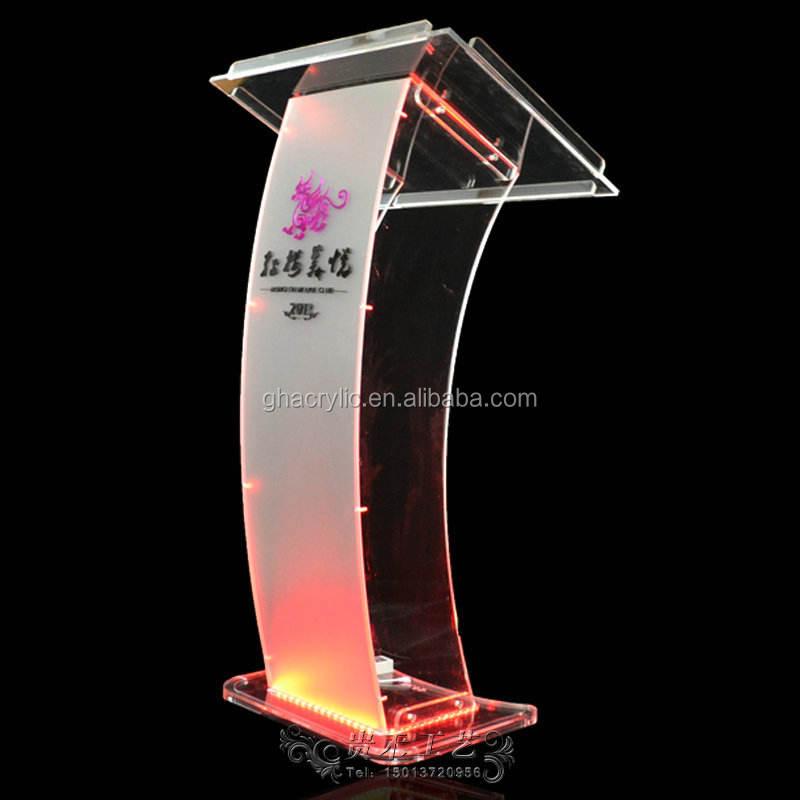Guihe modern tasarım kaynağı akrilik podyum, akrilik masa üstü kürsü, yüksek- son led akrilik podyum minber kürsü