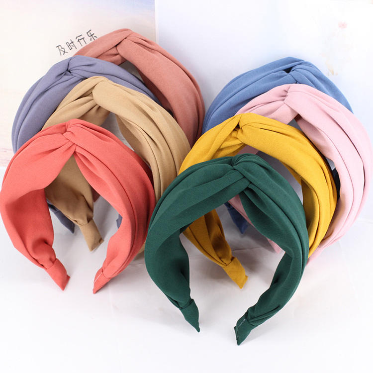 B918 2020 Wholesale New Design Colorful Elastic Headband Twisted Knotted Headband For Women