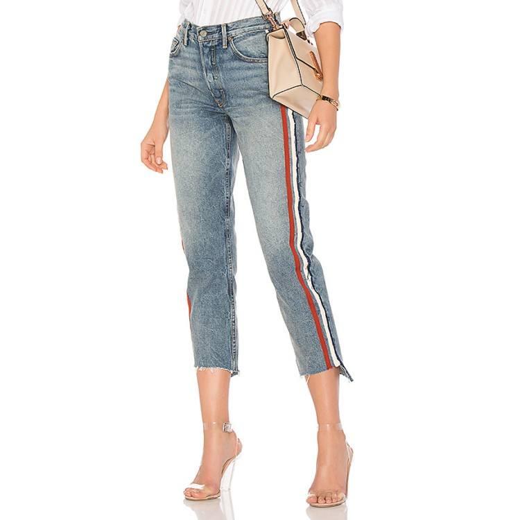 Fuente de la fábrica de moda de talle alto mujer pantalones de jean de mezclilla