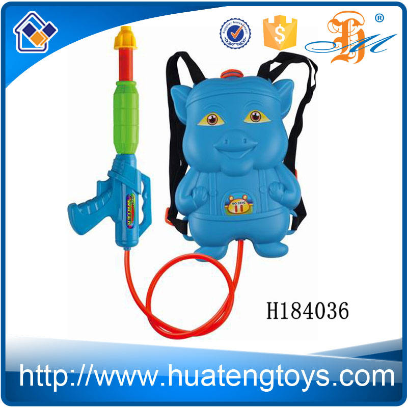 H184036 gros jouet préféré enfants bande dessinée forme blue pig pistolet à eau avec sac à dos