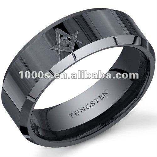 черный вольфрама масонских кольцо, мужская кольцо оптовой