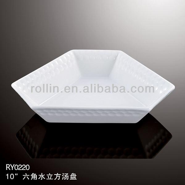 Spezielle Design Royal White Porzellan Keramik Wasser Cube Hexagonal Tiefen Suppenteller
