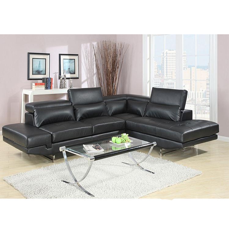Amplia variedades negro de cuero sofá de ofertas gran seccional sofá