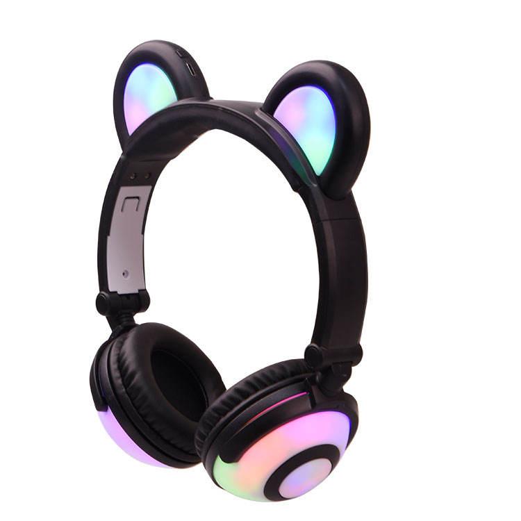 2018 nuevo producto personalizado luz música bastante oso oído auriculares estéreo LED para los niños