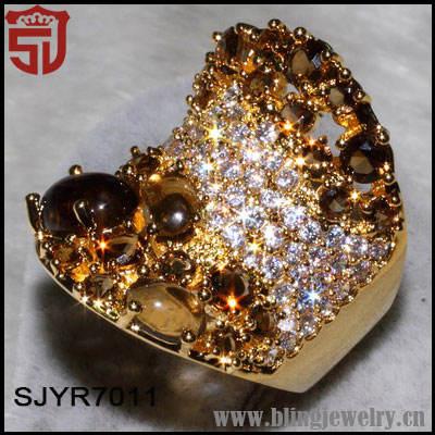 novos produtos da china para a venda de cristal marrom e branco cz 18k anéis de ouro