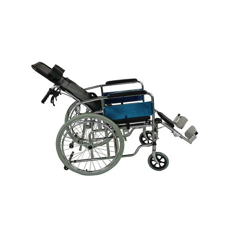 عالية الجودة مطلي بالكروم فائقة خفيفة الوزن قابلة للطي مستلق كرسي متحرك يدوي commode
