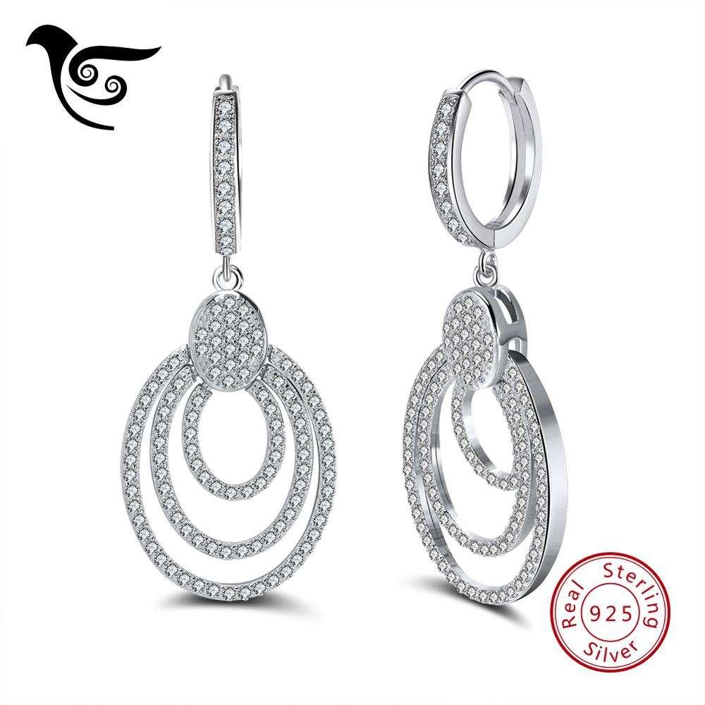 изделия стерлингового серебра 925 кольца Люкс комплект ювелирных изделий с 3 слоя родием