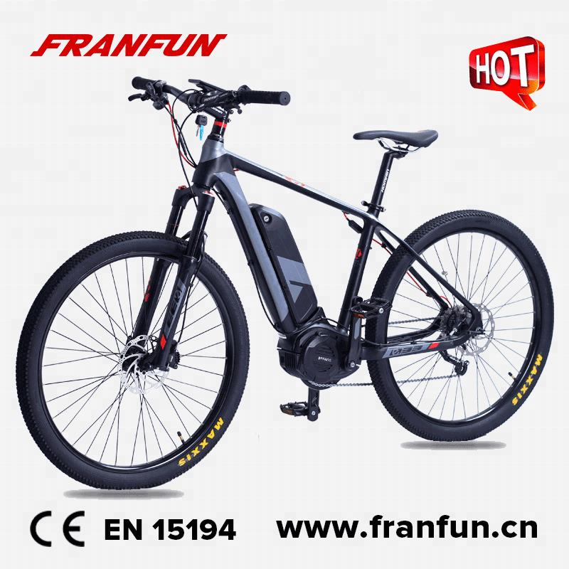 FRANFUN 9 속도 전기 mtb 자전거 강력한 500 와트 울트라 중반 드라이브 남성 <span class=keywords><strong>산</strong></span>악 자전거 27.5 인치 큰 휠
