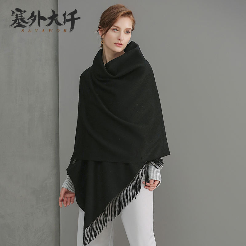 2017 Mongolia Interior pura bufanda de lana negro