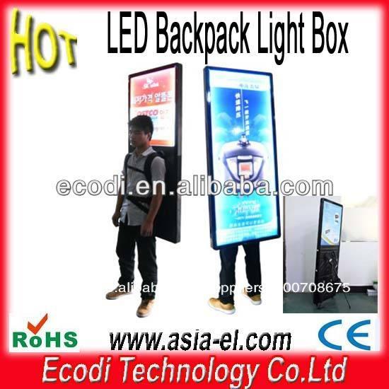 Hot!!! Dupla enfrenta mochila led sinal, caminhada mochila assinar com bateria recarregável