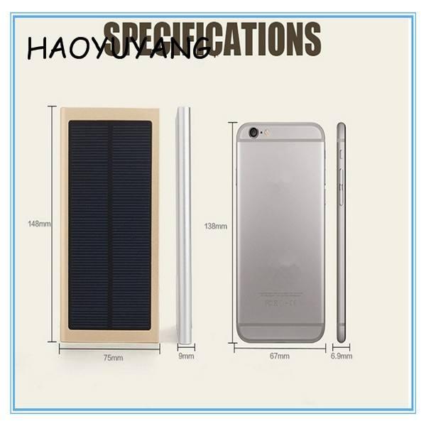Flexibilidad portátil Panel Solar Cargador Solar Linterna 10000 mAh Tarjeta de Crédito USB Gadget