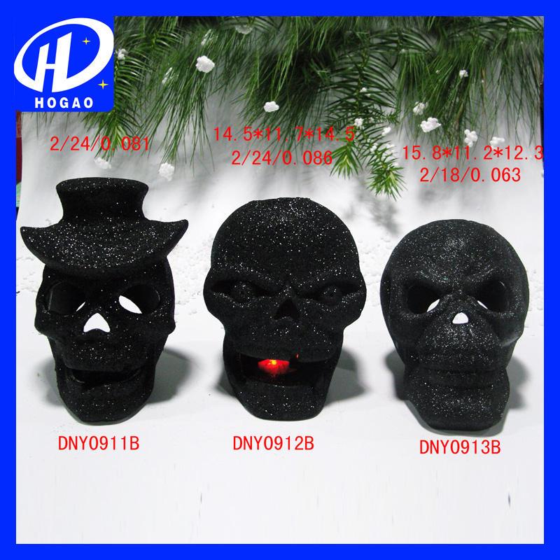 Negro cráneo de la resina titular de la vela para la decoración de halloween, cráneo vela titular