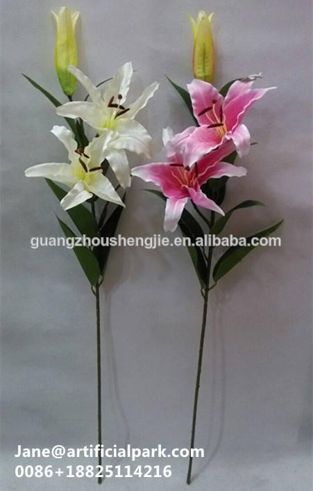 ユリの花人工絹織物/中国フラワーソファーファブリックユリ/人工ユリの花