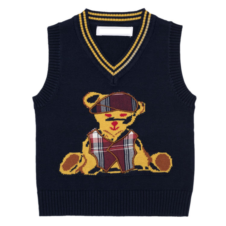 Collager малышей медведь жилет кабель вязать майка без рукавов пуловер свитер