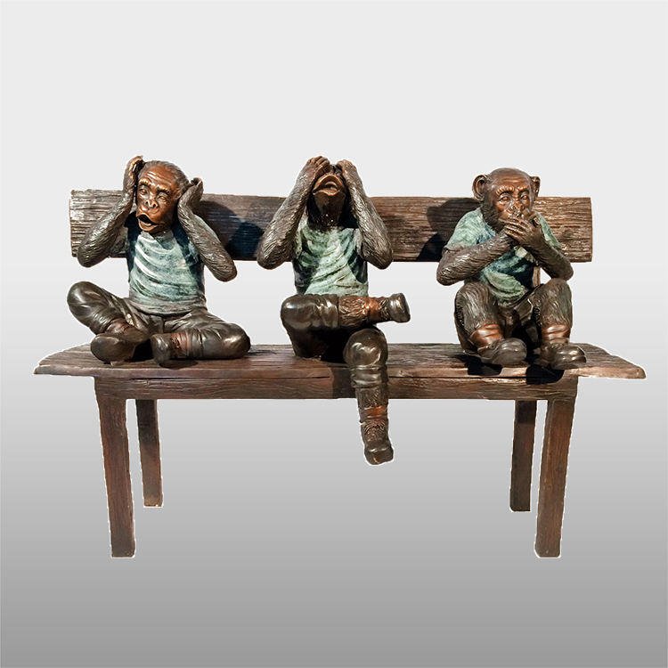 Tamaño de la vida <span class=keywords><strong>bronce</strong></span> <span class=keywords><strong>latón</strong></span> tres monos estatuas