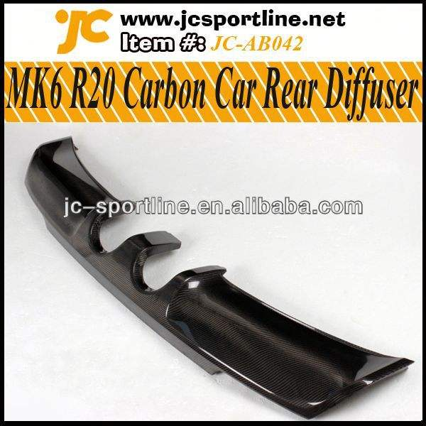 de golf vi mk6 R20 difusor trasero del labio de fibra de carbono de coches difusor de parachoques trasero para vw mk6 r20