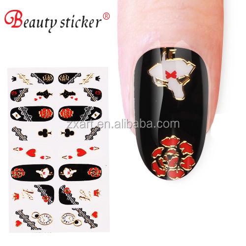 Модный стиль красивый дизайн 3D пластика ногтей обертывания, золото штамп Nail Art Наклейки