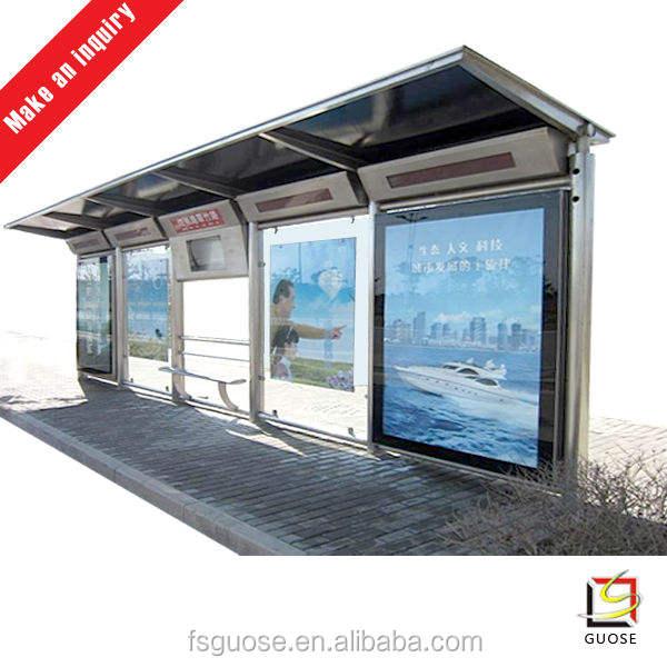照明用led屋外のバス待合所広告付きの耐久性のあるスチール材とどのような形状バス待合所の形状