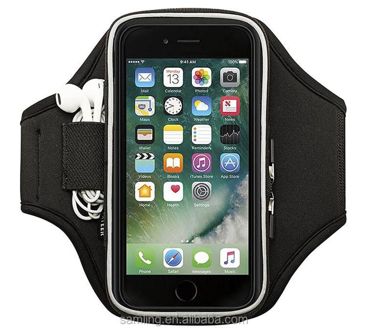 Alibaba en Espagnol Unisexe Velcro Brassard de Sport Stretch Noir Brassard Cas pour Iphone Apple Ipod Nano 6