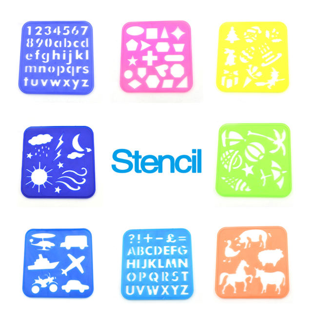 2021 factory supply custom Plastic drawing stencils art set for kids