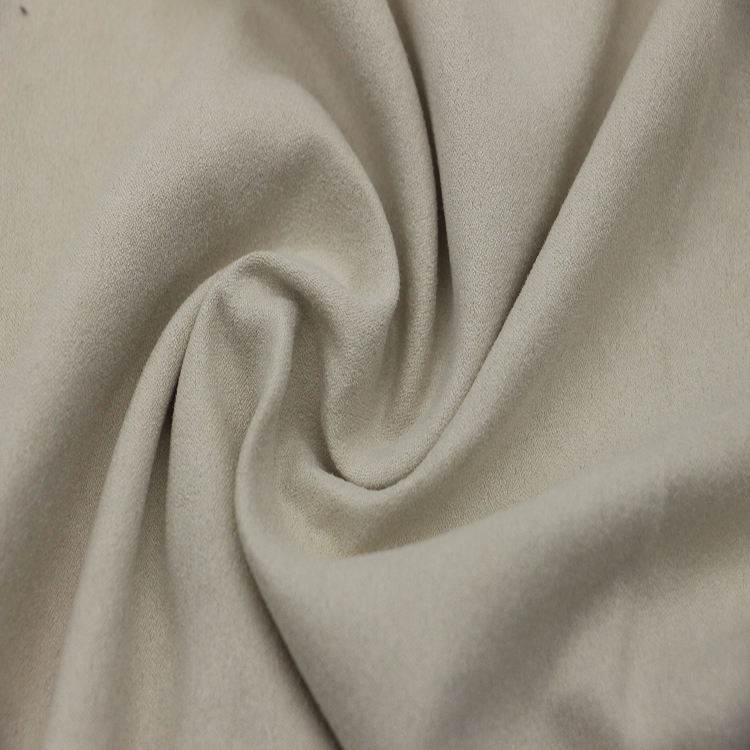 Micro Poliestere color Crema <span class=keywords><strong>Forte</strong></span> Tratto di Trama del Tessuto della Pelle Scamosciata per le donne vestiti