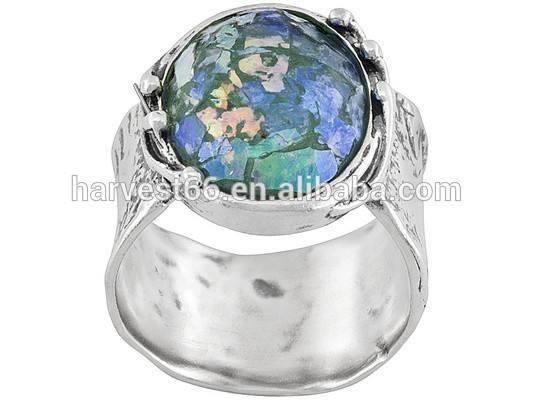 Israel Oval de vidro romano Sterling prata texturizado e polido anel