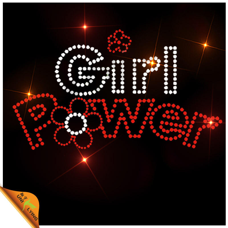 Transferências Girl Power Vermelho e Cristal personalizado Cartas de <span class=keywords><strong>ferro</strong></span> em strass