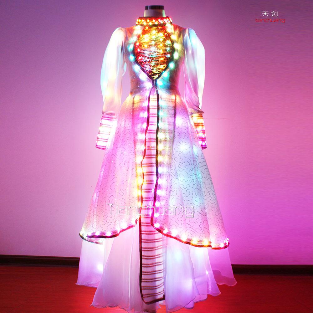高貴なドレス女の子のための長い虹大泰/スパンコールの点滅でエレガントな妖精コスチューム